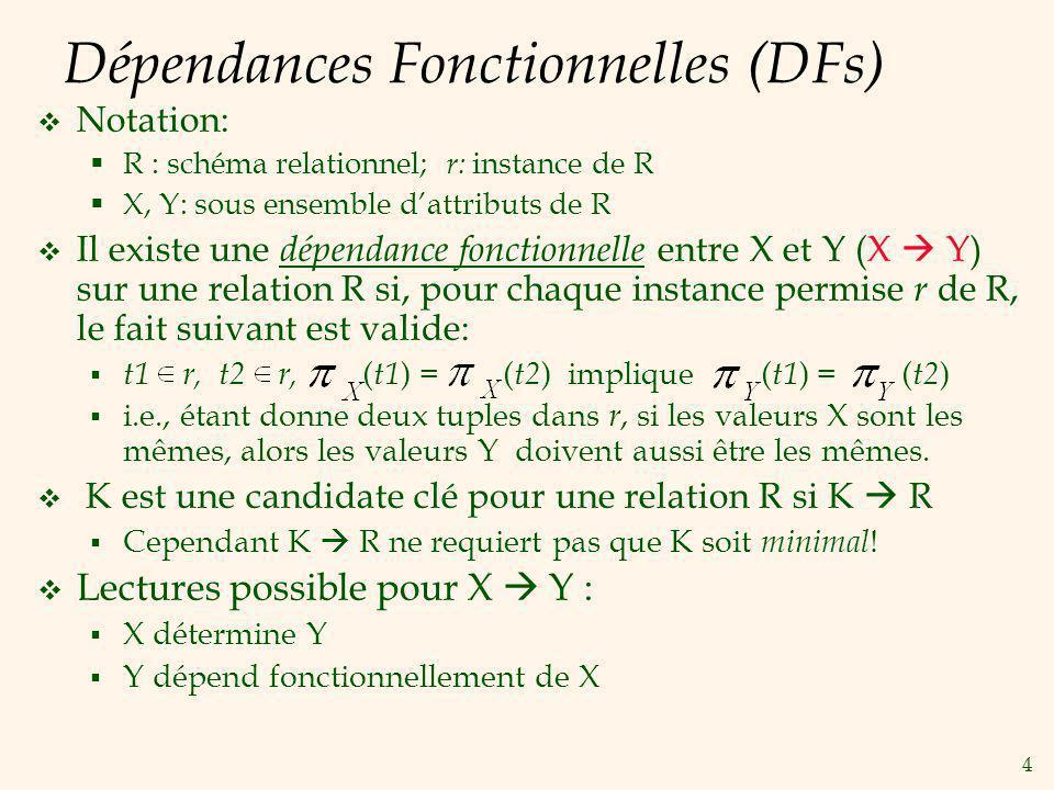 4 Dépendances Fonctionnelles (DFs) Notation: R : schéma relationnel; r: instance de R X, Y: sous ensemble dattributs de R Il existe une dépendance fonctionnelle entre X et Y (X Y) sur une relation R si, pour chaque instance permise r de R, le fait suivant est valide: t1 r, t2 r, ( t1 ) = ( t2 ) implique ( t1 ) = ( t2 ) i.e., étant donne deux tuples dans r, si les valeurs X sont les mêmes, alors les valeurs Y doivent aussi être les mêmes.
