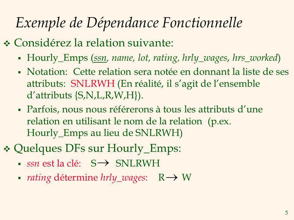 6 Exemple (Suite) Problèmes causés par R W: Anomalie de modification: Peut-on changer W juste dans le 1er tuple de SNLRWH.