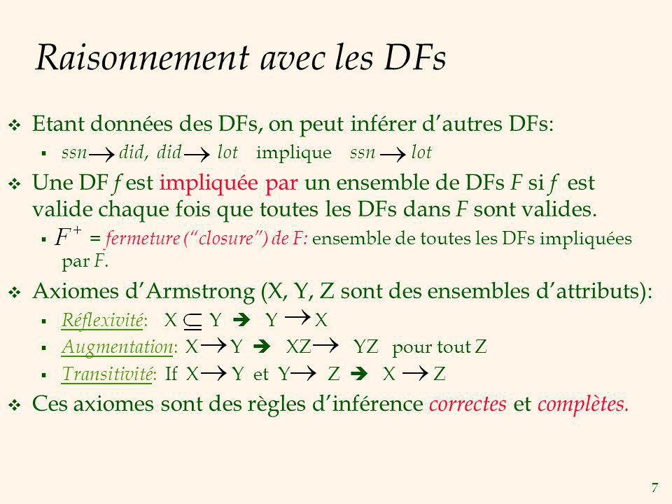 8 Raisonnement avec DFs (Suite) Règles additionnelles (impliquées par les axiomes): Union : X Y et X Z X YZ Décomposition : X YZ X Y et X Z Exemple: Contracts( cid,sid,jid,did,pid,qty,value ): C est la clé: C CSJDPQV Un projet achète chaque pièce en usant dun seul contrat: JP C Un département achète tout au plus 1 pièce dun fournisseur: SD P JP C, C CSJDPQV JP CSJDPQV (Trans.) SD P SDJ JP (Augm.) SDJ JP, JP CSJDPQV SDJ CSJDPQV (Trans.)