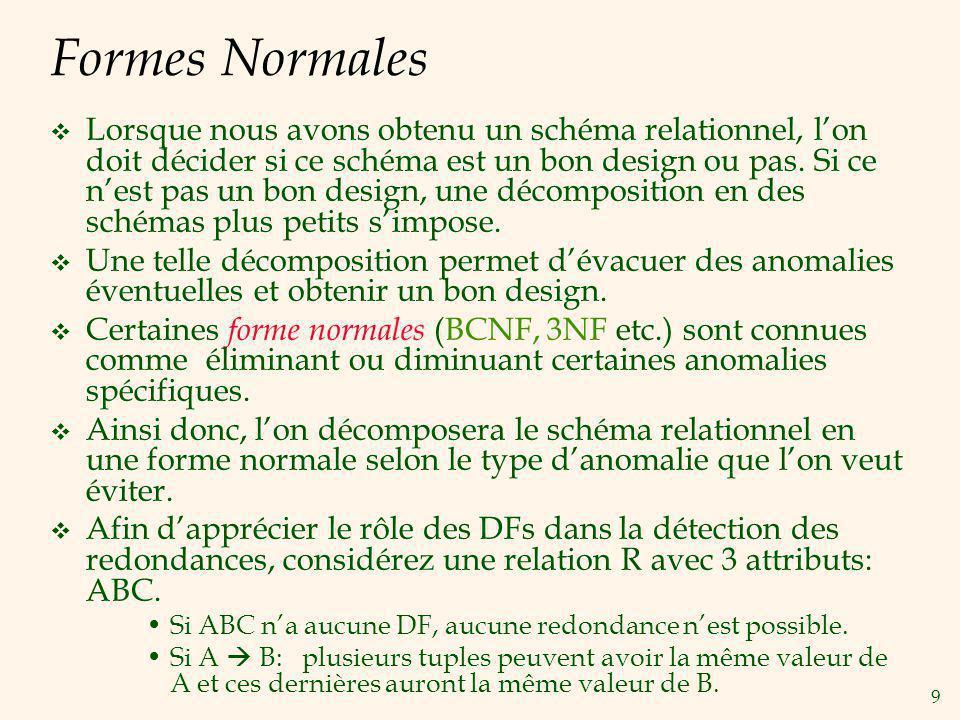 9 Formes Normales Lorsque nous avons obtenu un schéma relationnel, lon doit décider si ce schéma est un bon design ou pas.