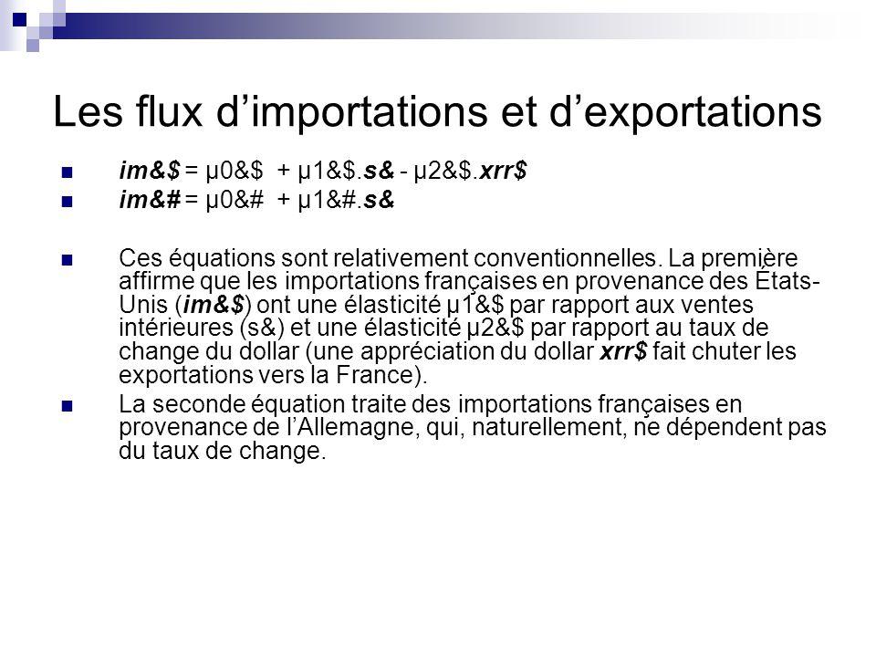 Les flux dimportations et dexportations im&$ = µ0&$ + µ1&$.s& - µ2&$.xrr$ im&# = µ0&# + µ1&#.s& Ces équations sont relativement conventionnelles.