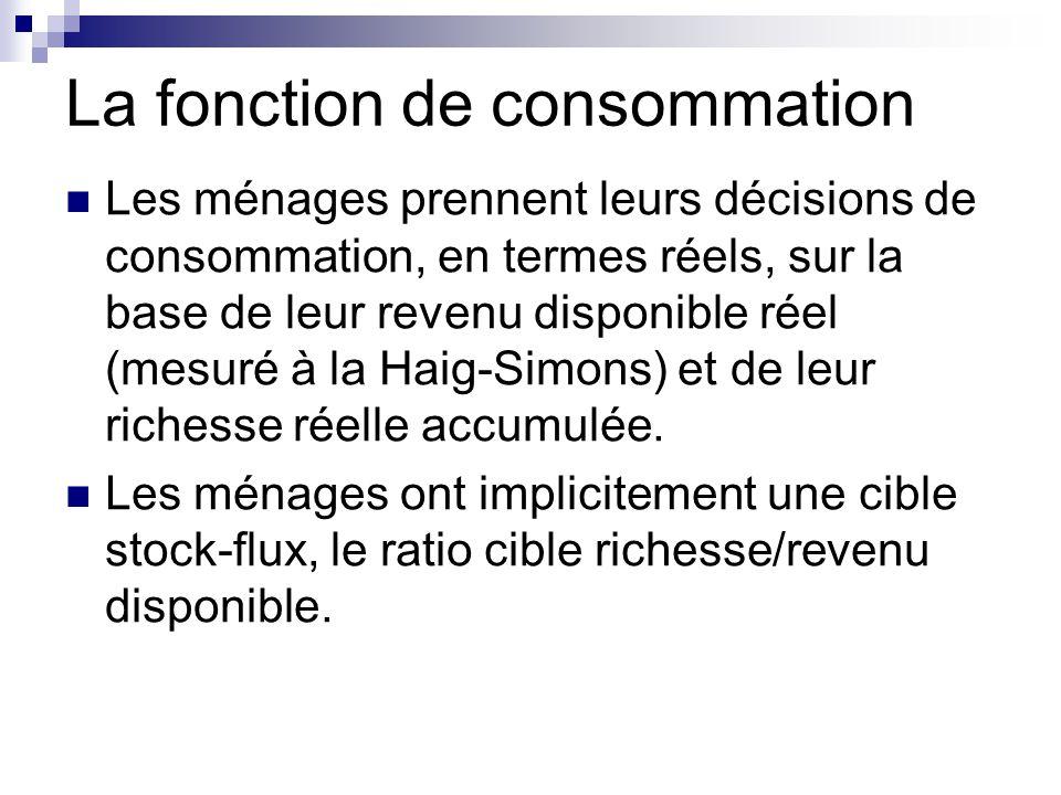 La fonction de consommation Les ménages prennent leurs décisions de consommation, en termes réels, sur la base de leur revenu disponible réel (mesuré à la Haig-Simons) et de leur richesse réelle accumulée.