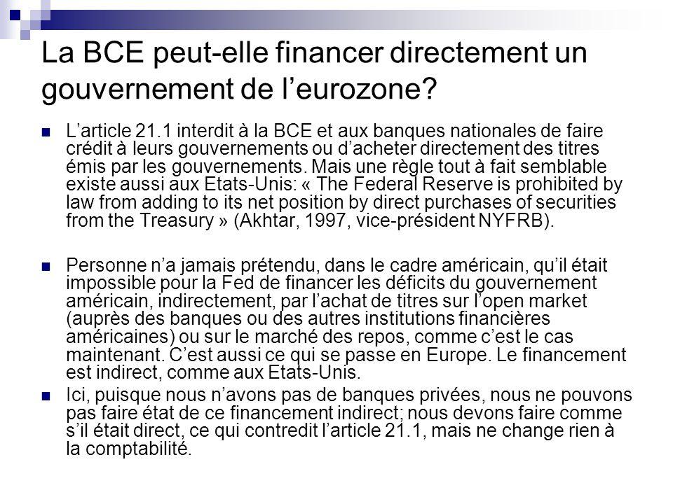 La BCE peut-elle financer directement un gouvernement de leurozone.