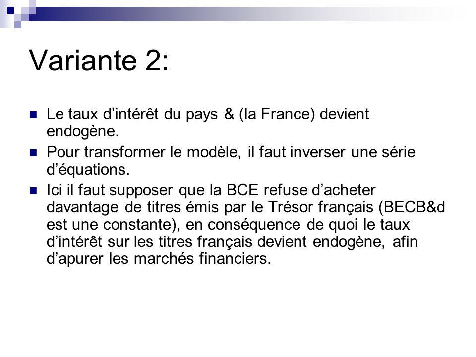Variante 2: Le taux dintérêt du pays & (la France) devient endogène.