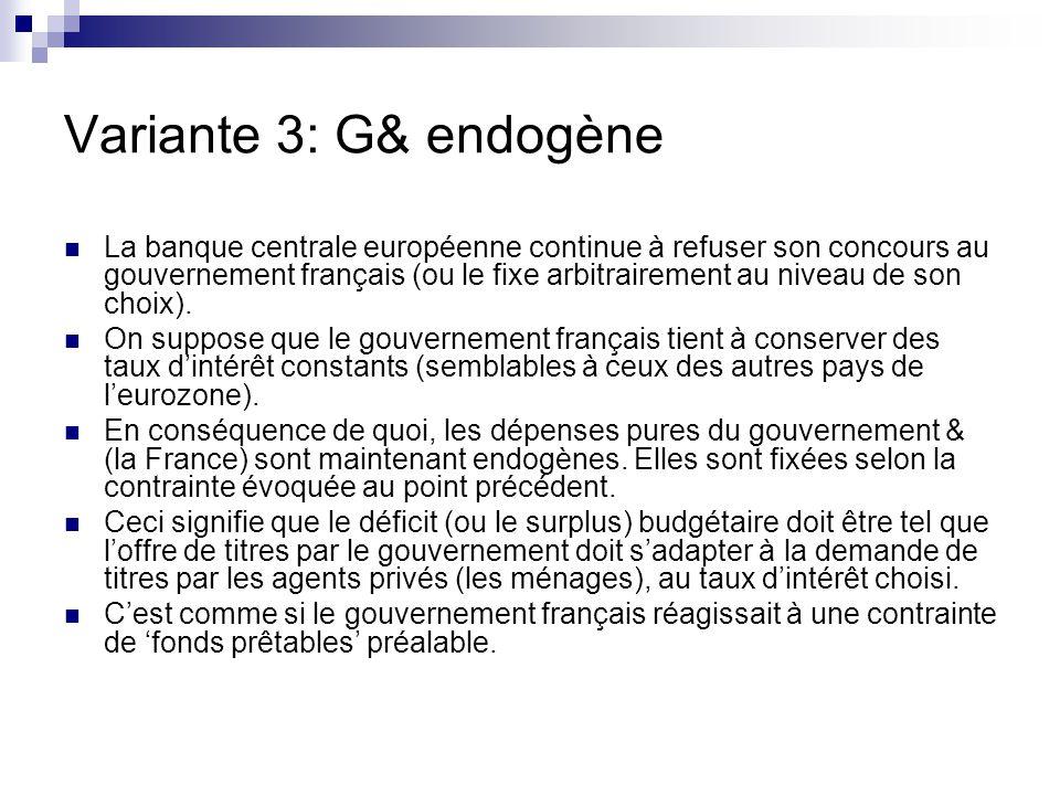 Variante 3: G& endogène La banque centrale européenne continue à refuser son concours au gouvernement français (ou le fixe arbitrairement au niveau de son choix).
