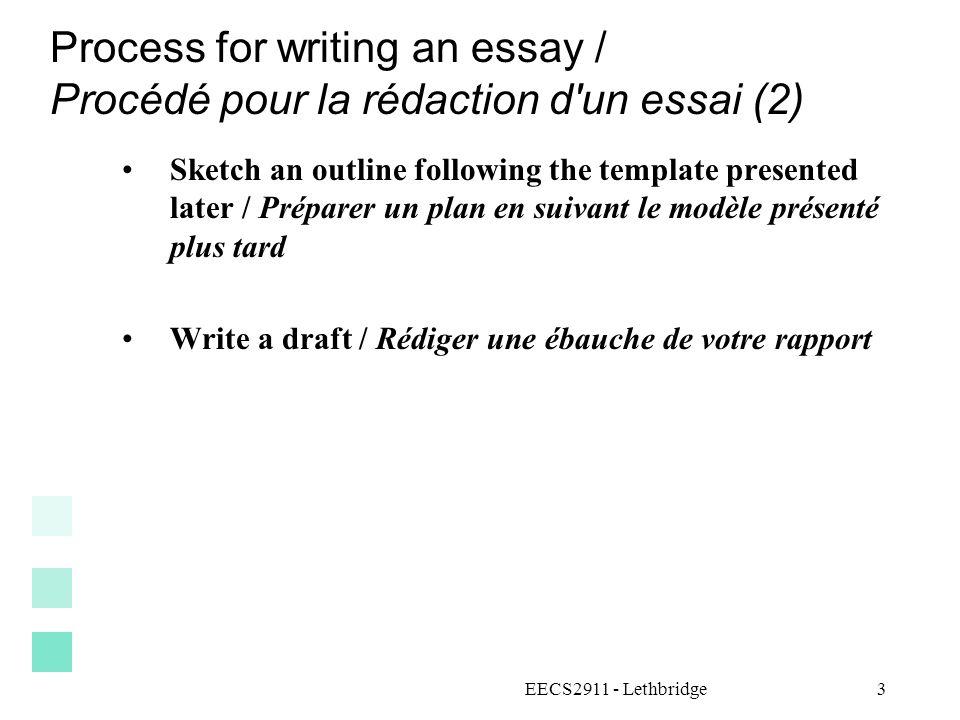 Process for writing an essay / Procédé pour la rédaction d'un essai (2) Sketch an outline following the template presented later / Préparer un plan en