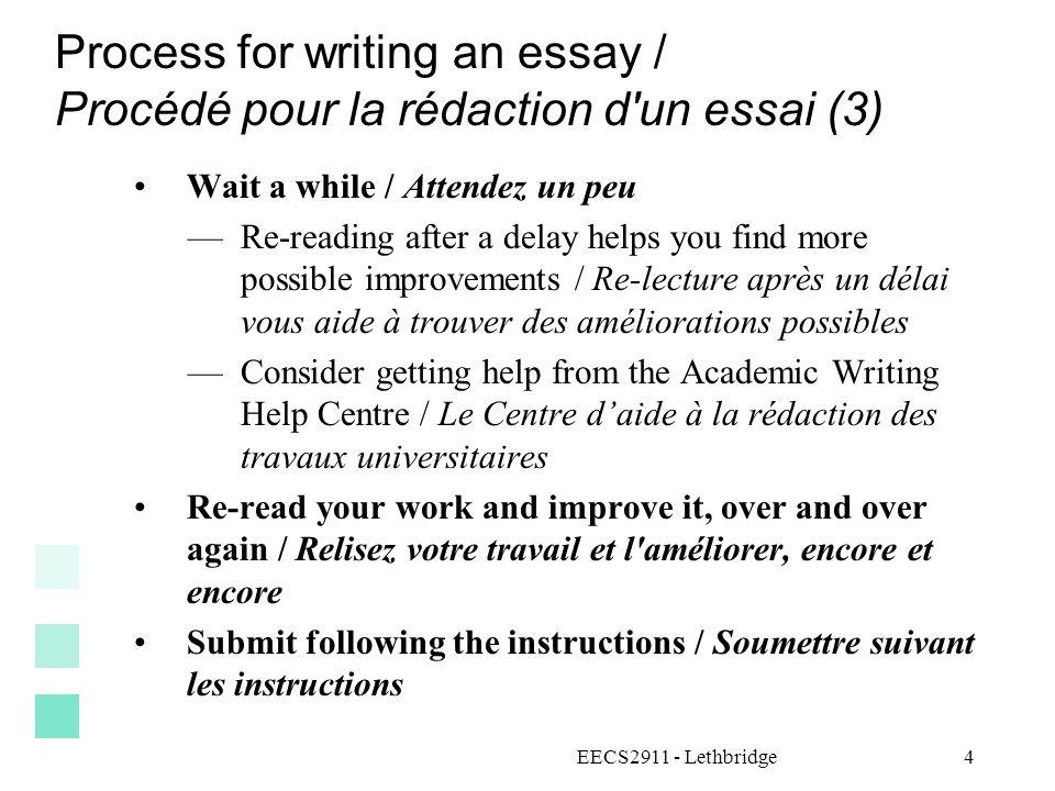 Process for writing an essay / Procédé pour la rédaction d'un essai (3) Wait a while / Attendez un peu Re-reading after a delay helps you find more po