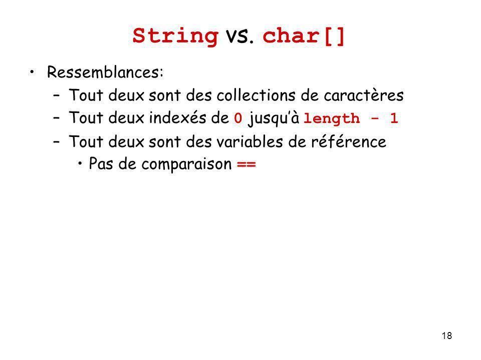 18 String vs. char[] Ressemblances: –Tout deux sont des collections de caractères –Tout deux indexés de 0 jusquà length - 1 –Tout deux sont des variab