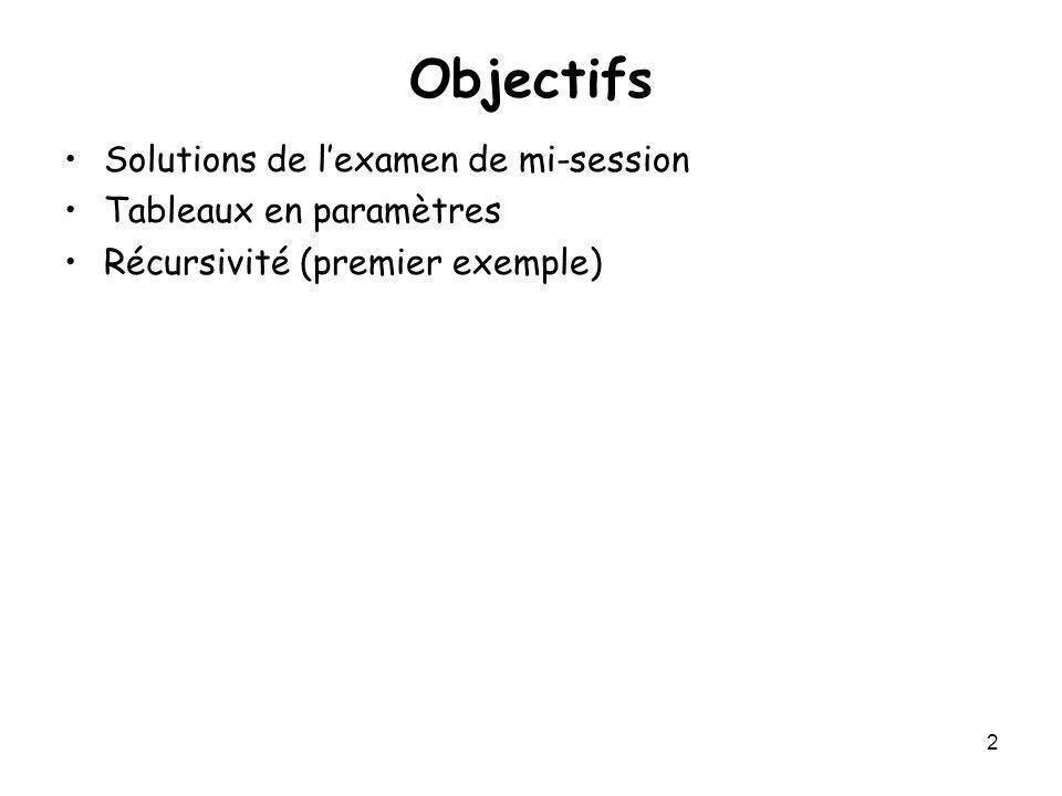2 Objectifs Solutions de lexamen de mi-session Tableaux en paramètres Récursivité (premier exemple)