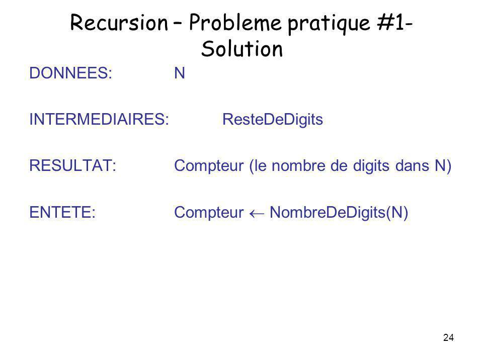 24 Recursion – Probleme pratique #1- Solution DONNEES: N INTERMEDIAIRES: ResteDeDigits RESULTAT: Compteur (le nombre de digits dans N) ENTETE:Compteur