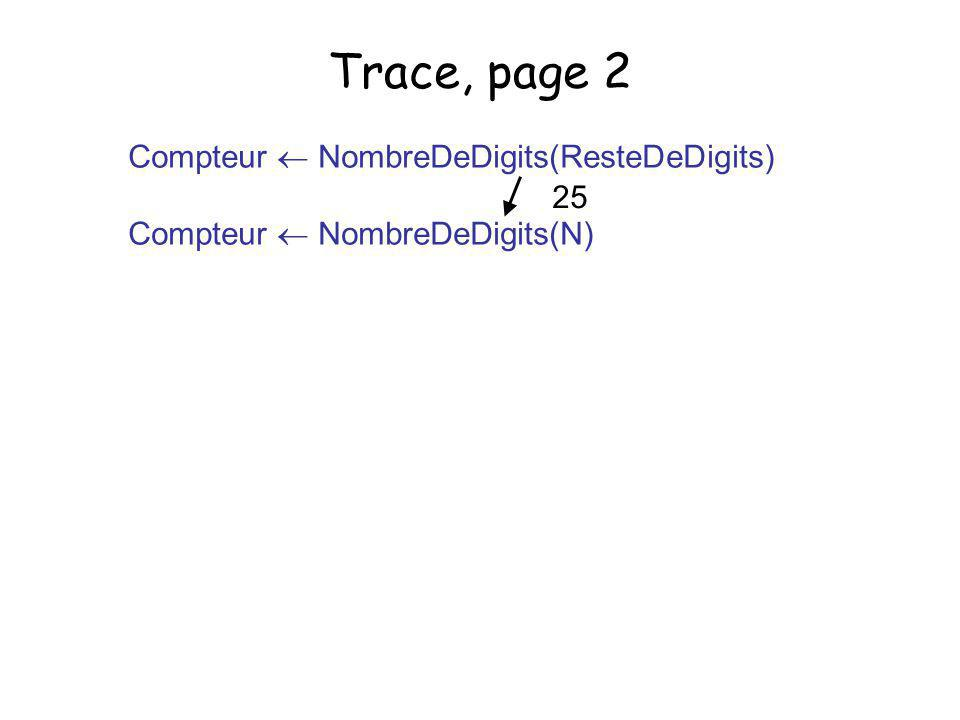 27 Trace, page 2 Ligne NResteDeDigi ts Compt eur Valeurs initiales 25?? (1) ResteDeDigits = N / 10 2 (2) ResteDeDigits = 0 ? fausse (3) Appel Compteur