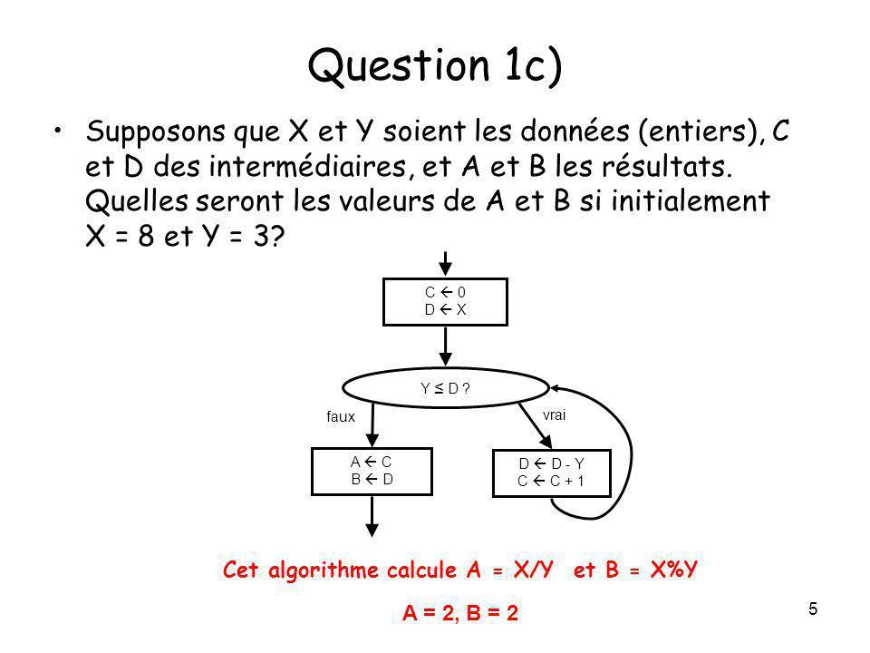 16 Question 4 (suite) Erreurs fréquentes: – au lieu de < pour la limite supérieure –NbPersonnes oublié dans len-tête –Noms de variables obscures… –= au lieu de pour lassignation – oublié pour la branche fausse –Branches vraie et fausse mal jointes –x 100 pour le pourcentage –Flèches entre les boîtes de lalgorithme