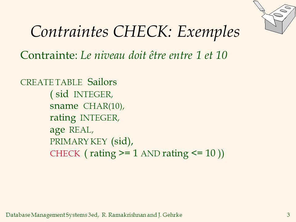 Database Management Systems 3ed, R. Ramakrishnan and J. Gehrke3 Contraintes CHECK: Exemples Contrainte: Le niveau doit être entre 1 et 10 CREATE TABLE