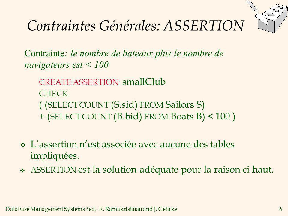 Database Management Systems 3ed, R. Ramakrishnan and J. Gehrke6 Contraintes Générales: ASSERTION Lassertion nest associée avec aucune des tables impli