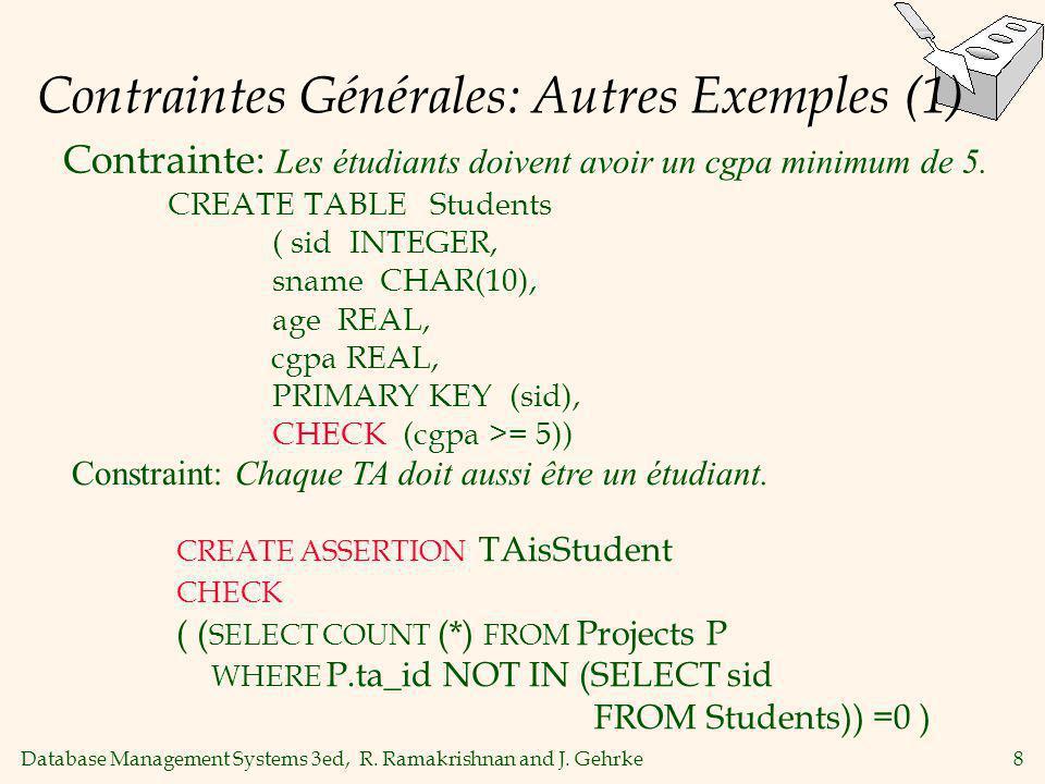 Database Management Systems 3ed, R. Ramakrishnan and J. Gehrke8 Contraintes Générales: Autres Exemples (1) Contrainte: Les étudiants doivent avoir un