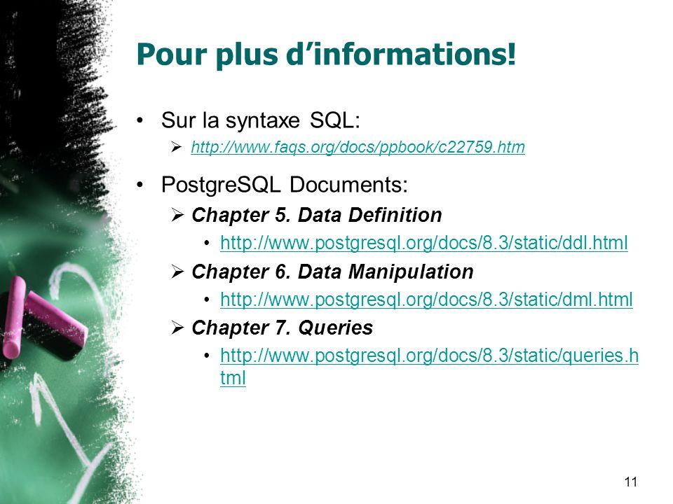 11 Pour plus dinformations! Sur la syntaxe SQL: http://www.faqs.org/docs/ppbook/c22759.htm PostgreSQL Documents: Chapter 5. Data Definition http://www