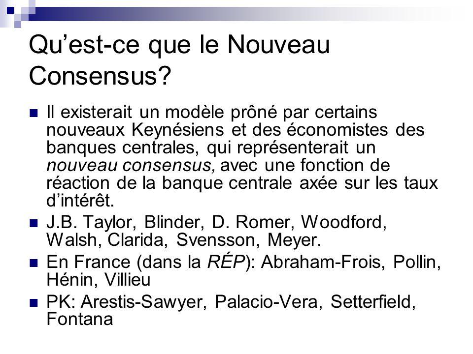 Quest-ce que le Nouveau Consensus? Il existerait un modèle prôné par certains nouveaux Keynésiens et des économistes des banques centrales, qui représ