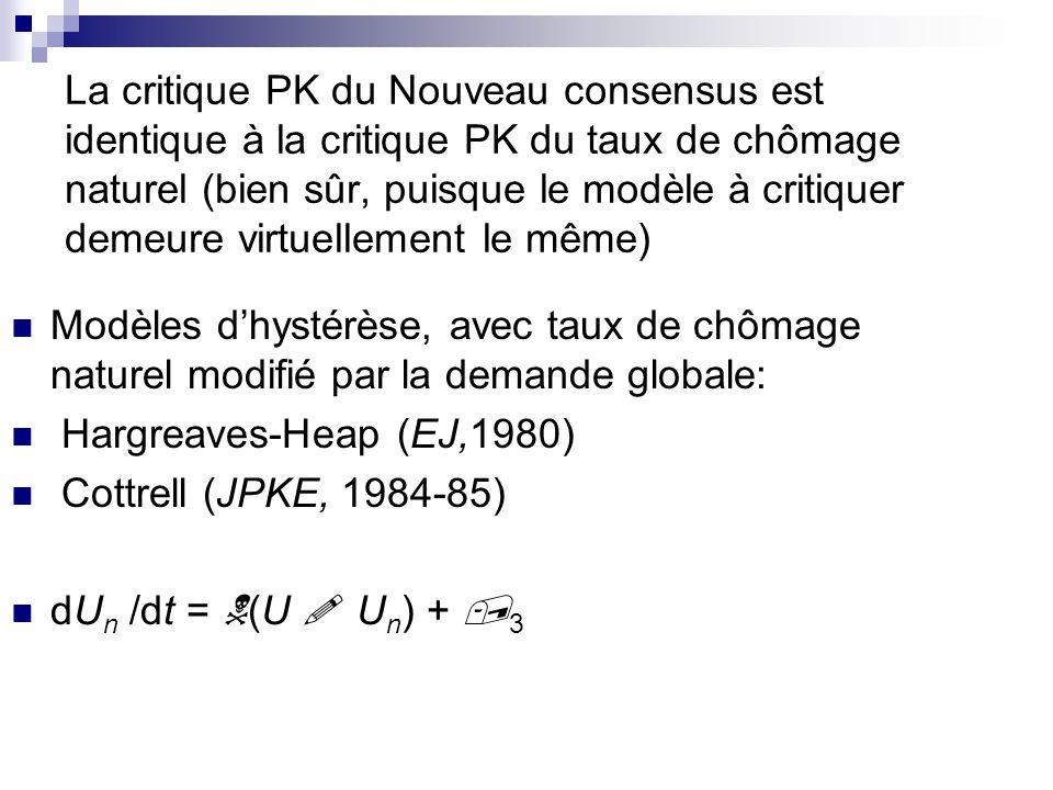La critique PK du Nouveau consensus est identique à la critique PK du taux de chômage naturel (bien sûr, puisque le modèle à critiquer demeure virtuel