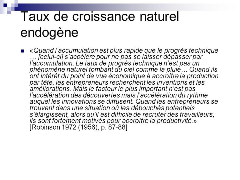 Taux de croissance naturel endogène «Quand laccumulation est plus rapide que le progrès technique … [celui-ci] saccélère pour ne pas se laisser dépass
