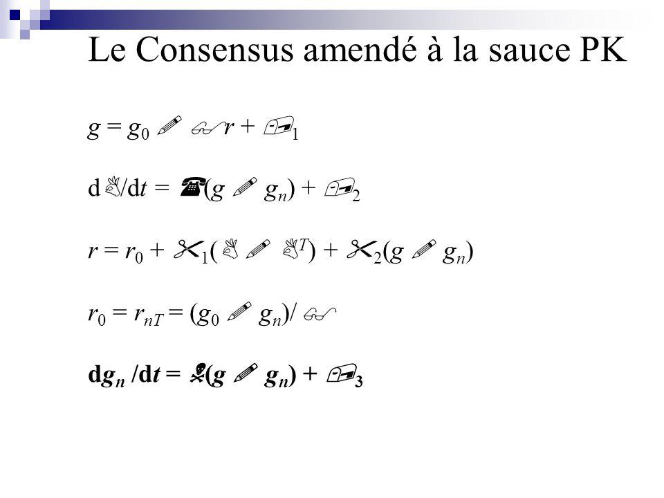 Le Consensus amendé à la sauce PK g = g 0 ! $ r +, 1 d B /dt = ( (g ! g n ) +, 2 r = r 0 +