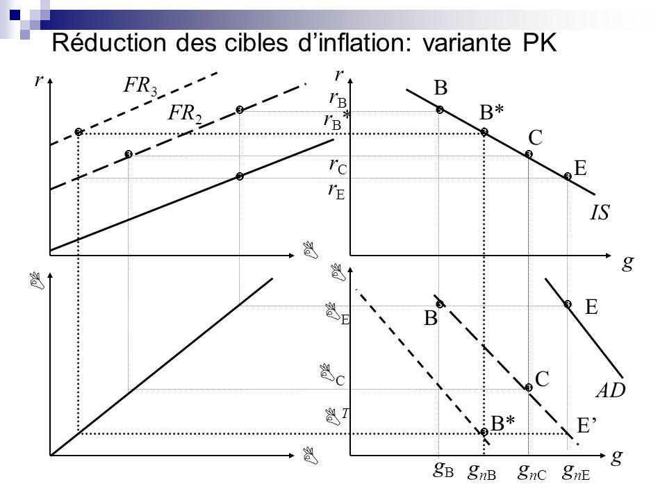 Réduction des cibles dinflation: variante PK IS AD r r g FR 3 gnBgnB gnCgnC C E rBrB rCrC C E B E B* gnEgnE B rErE T gBgB C rB*rB* B* FR 2 g E