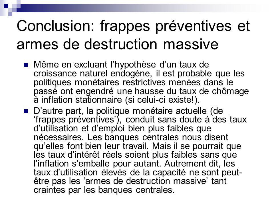 Conclusion: frappes préventives et armes de destruction massive Même en excluant lhypothèse dun taux de croissance naturel endogène, il est probable q