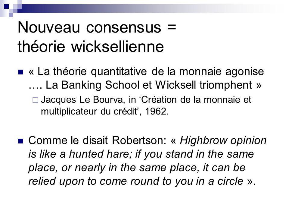 Nouveau consensus = théorie wicksellienne « La théorie quantitative de la monnaie agonise …. La Banking School et Wicksell triomphent » Jacques Le Bou