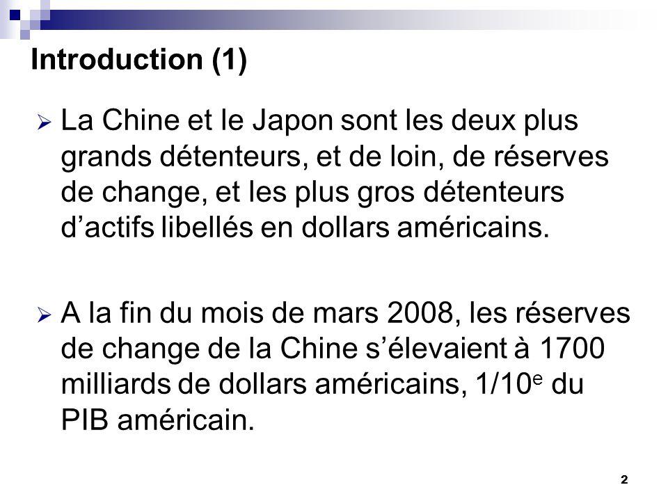 3 Introduction (2) Certains économistes chinois (Zheng and Yi, 2007; Wang, 2006) pensent que les réserves de change actuelles surpassent de beaucoup les besoins de la Chine.