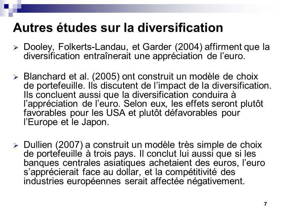 8 Autres études sur la diversification (2) En quoi notre propre étude est-elle différente de ces autres travaux, ceux de Blanchard et al.
