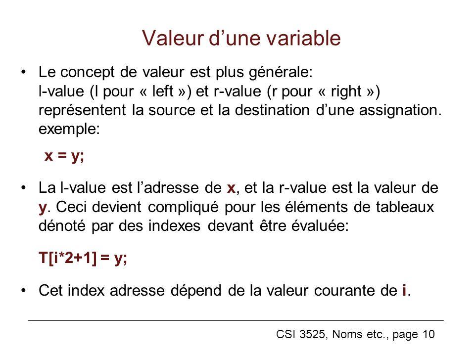 CSI 3525, Noms etc., page 10 Valeur dune variable Le concept de valeur est plus générale: l-value (l pour « left ») et r-value (r pour « right ») représentent la source et la destination dune assignation.