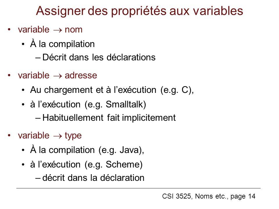 CSI 3525, Noms etc., page 14 Assigner des propriétés aux variables variable nom À la compilation –Décrit dans les déclarations variable adresse Au chargement et à lexécution (e.g.
