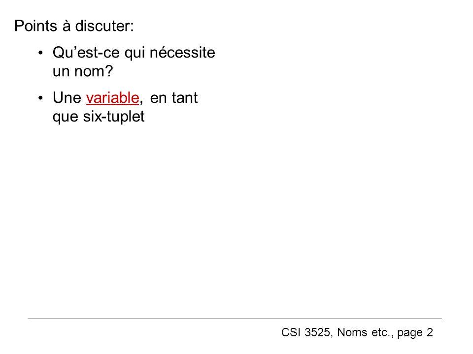 CSI 3525, Noms etc., page 2 Points à discuter: Quest-ce qui nécessite un nom.