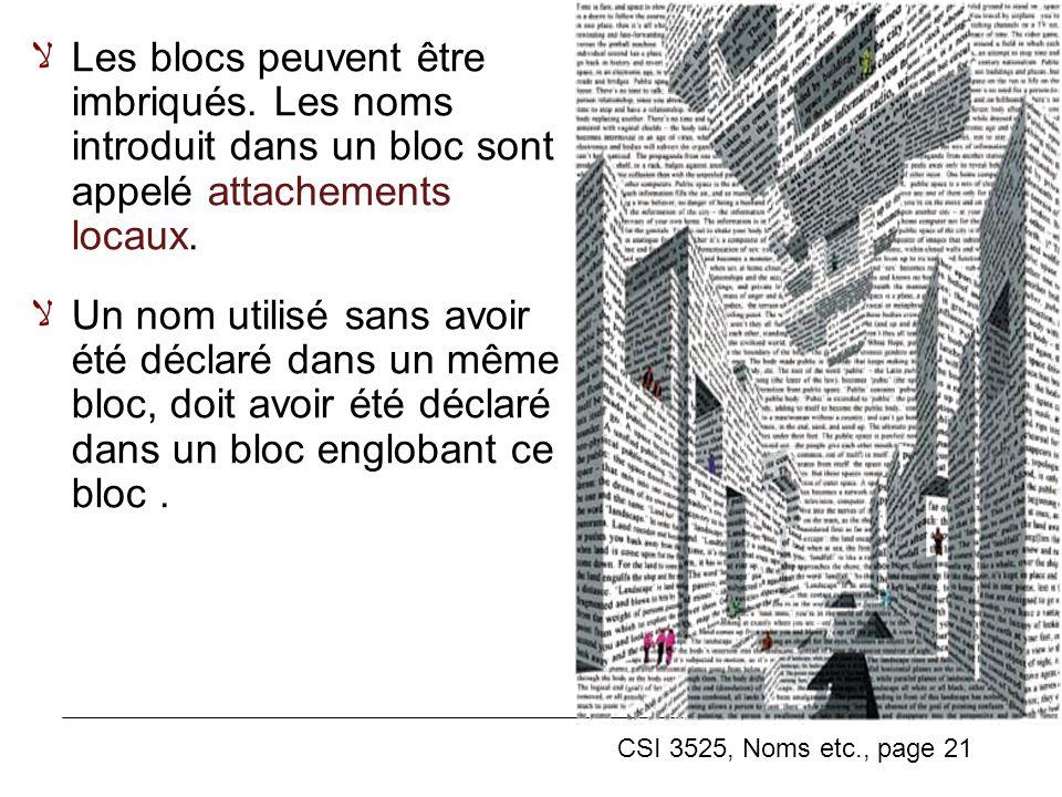 CSI 3525, Noms etc., page 21 Les blocs peuvent être imbriqués.