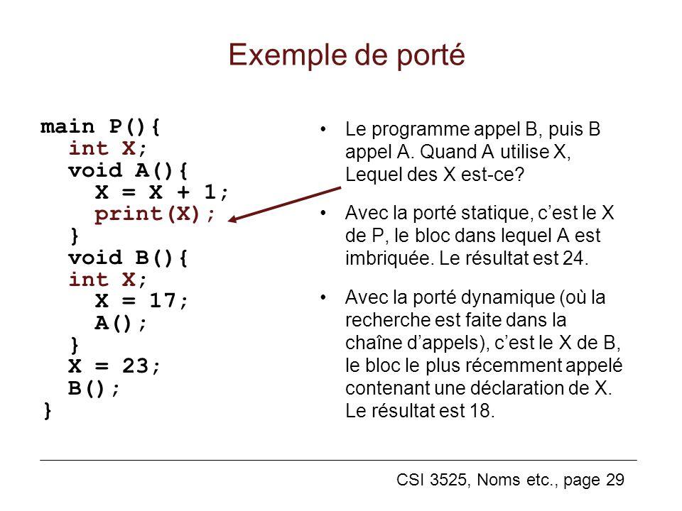 CSI 3525, Noms etc., page 29 Exemple de porté main P(){ int X; void A(){ X = X + 1; print(X); } void B(){ int X; X = 17; A(); } X = 23; B(); } Le programme appel B, puis B appel A.