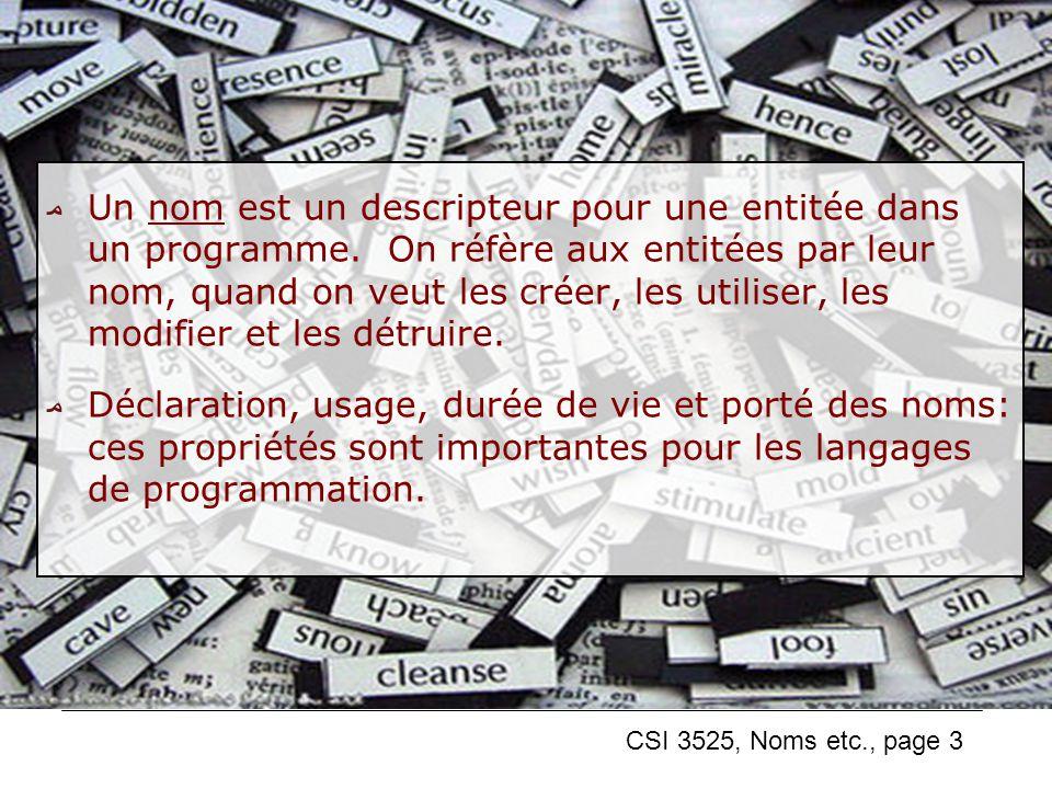CSI 3525, Noms etc., page 3 Un nom est un descripteur pour une entitée dans un programme.