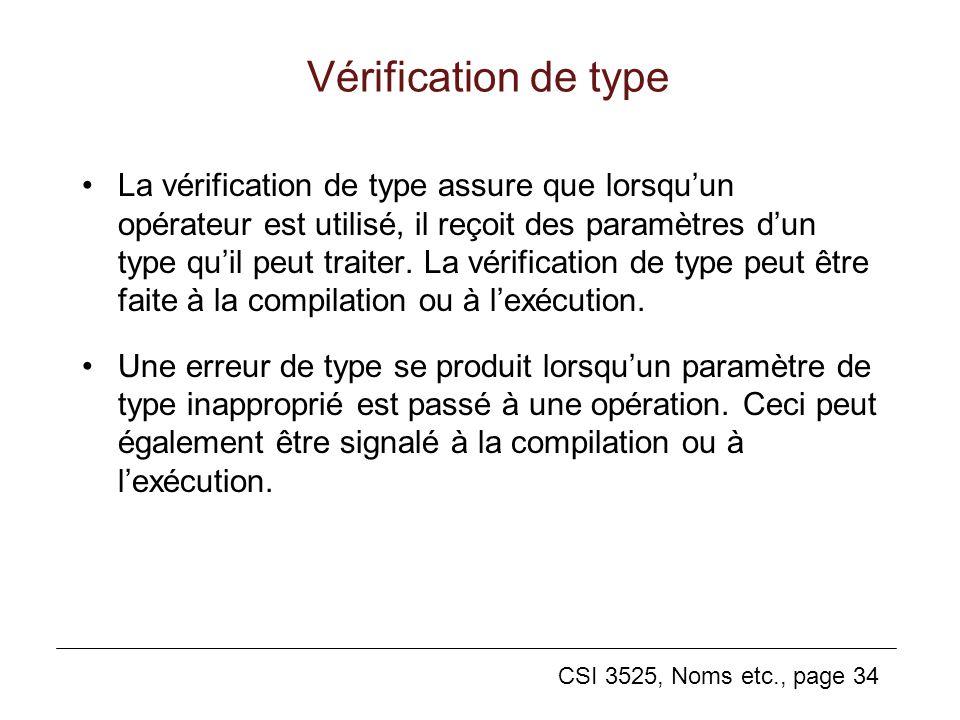 CSI 3525, Noms etc., page 34 Vérification de type La vérification de type assure que lorsquun opérateur est utilisé, il reçoit des paramètres dun type quil peut traiter.