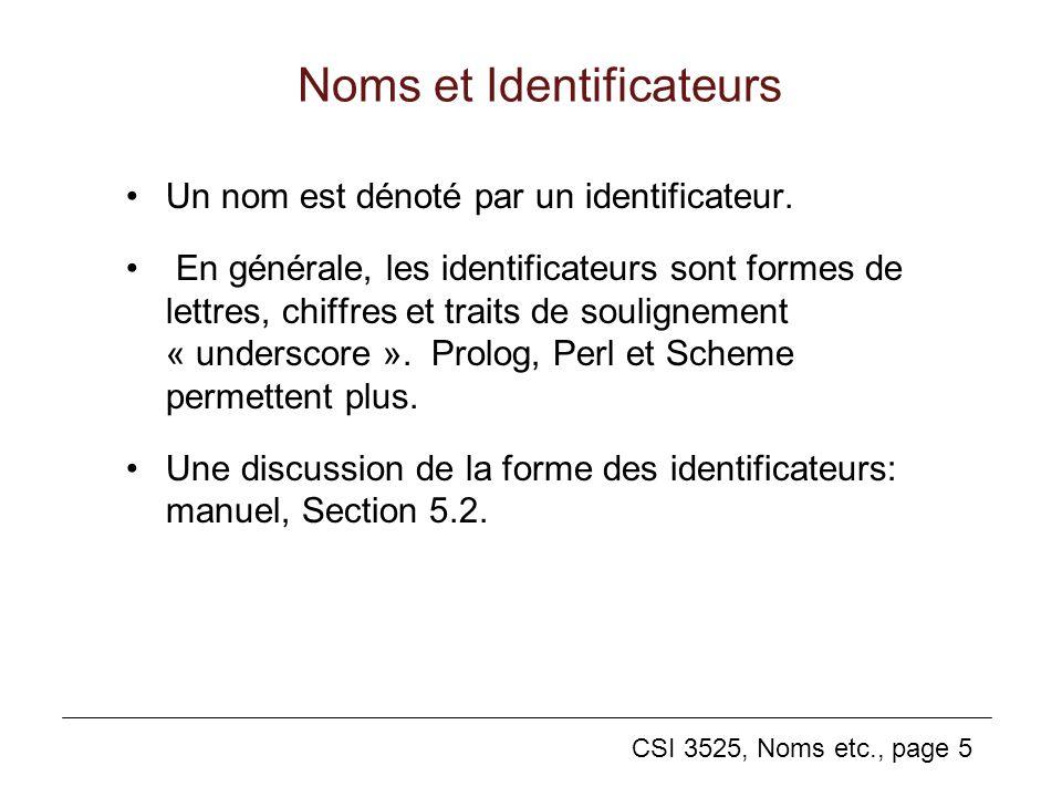CSI 3525, Noms etc., page 5 Noms et Identificateurs Un nom est dénoté par un identificateur.