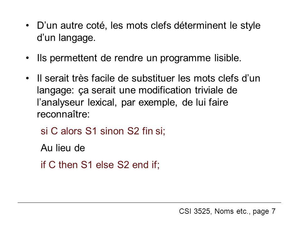 CSI 3525, Noms etc., page 8 Variables Une variable, dans un langage impératif, est un six-tuplet: nom, adresse, valeur, type, durée de vie, porté Par exemple: int x; on décide le nom et le type de x.