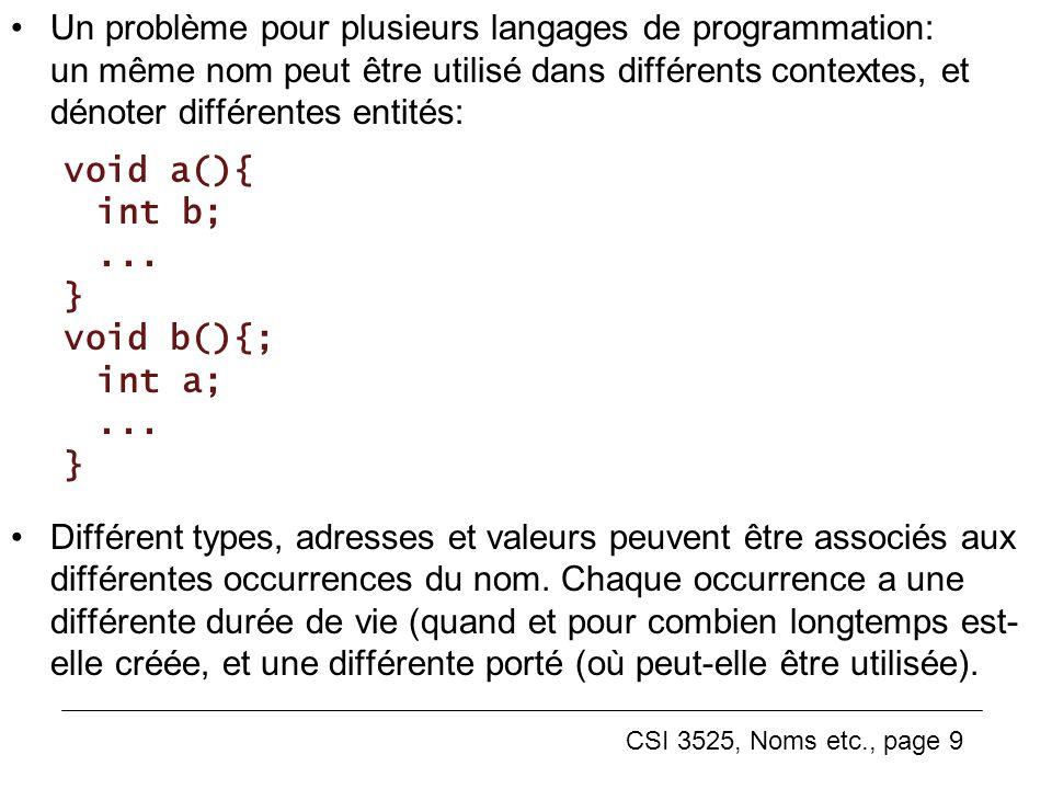 CSI 3525, Noms etc., page 9 Un problème pour plusieurs langages de programmation: un même nom peut être utilisé dans différents contextes, et dénoter différentes entités: void a(){ int b;...