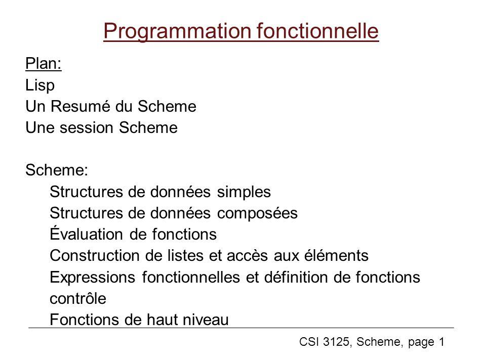 CSI 3125, Scheme, page 1 Programmation fonctionnelle Plan: Lisp Un Resumé du Scheme Une session Scheme Scheme: Structures de données simples Structure