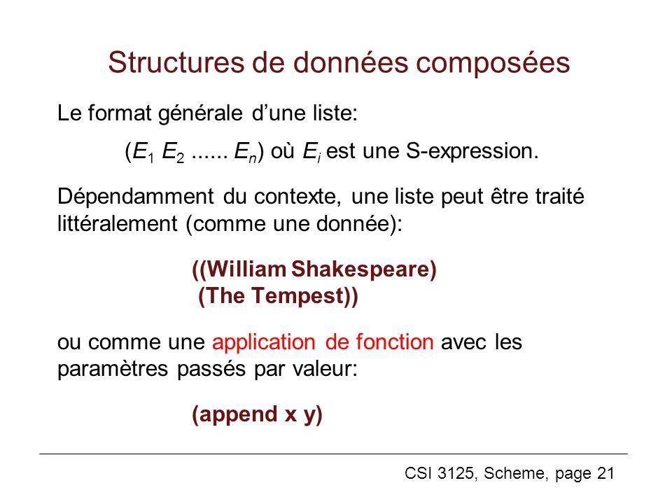 CSI 3125, Scheme, page 21 Structures de données composées Le format générale dune liste: (E 1 E 2...... E n ) où E i est une S-expression. Dépendammen