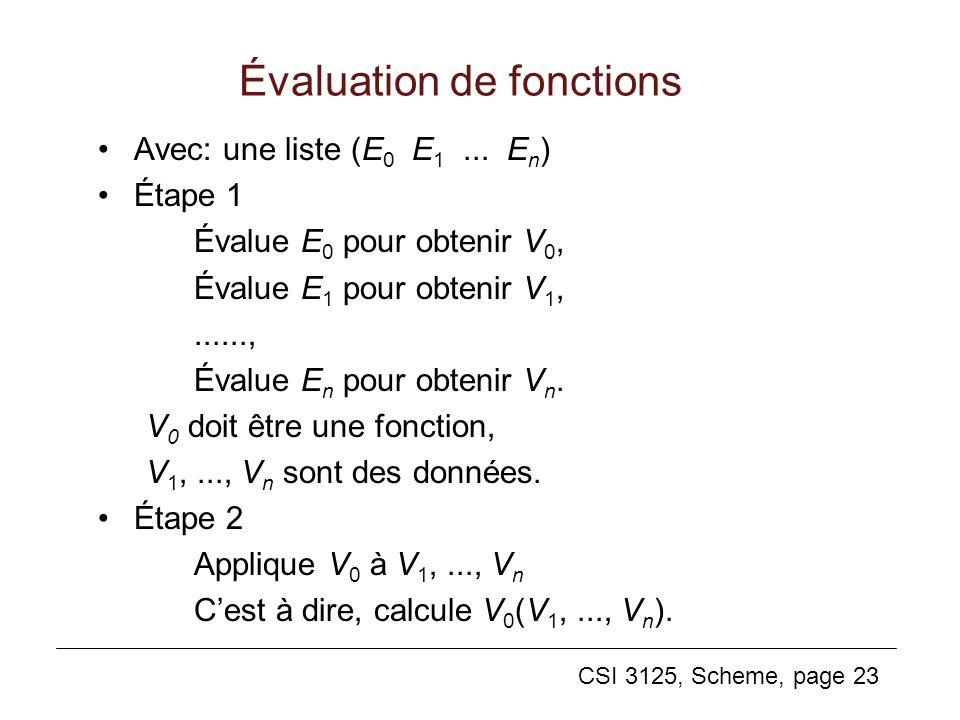 CSI 3125, Scheme, page 23 Évaluation de fonctions Avec: une liste (E 0 E 1... E n ) Étape 1 Évalue E 0 pour obtenir V 0, Évalue E 1 pour obtenir V 1,.