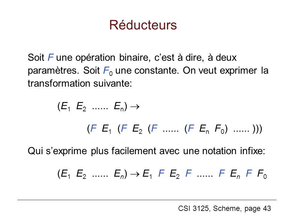 CSI 3125, Scheme, page 43 Réducteurs Soit F une opération binaire, cest à dire, à deux paramètres. Soit F 0 une constante. On veut exprimer la transfo