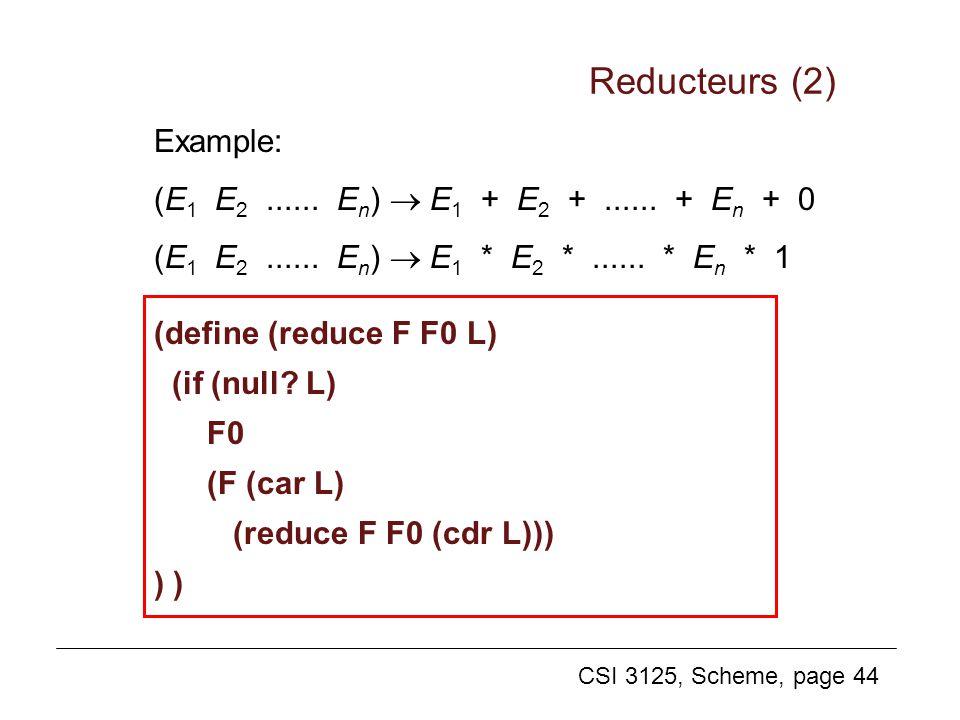 CSI 3125, Scheme, page 44 Example: (E 1 E 2...... E n ) E 1 + E 2 +...... + E n + 0 (E 1 E 2...... E n ) E 1 * E 2 *...... * E n * 1 Reducteurs (2) (d