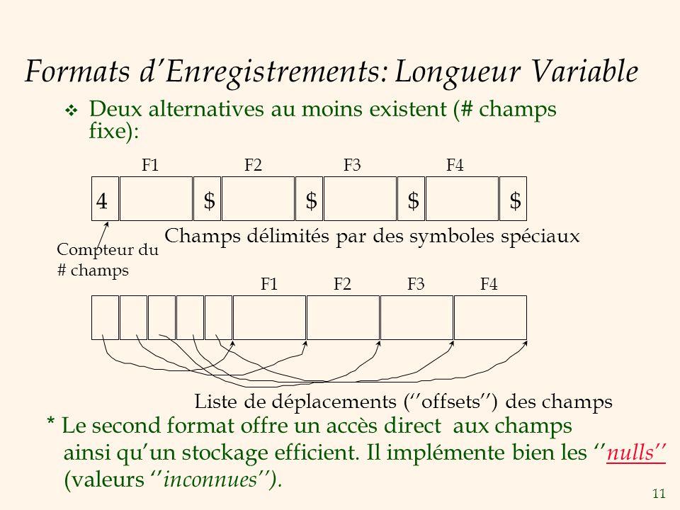 11 Formats dEnregistrements: Longueur Variable Deux alternatives au moins existent (# champs fixe): * Le second format offre un accès direct aux champ