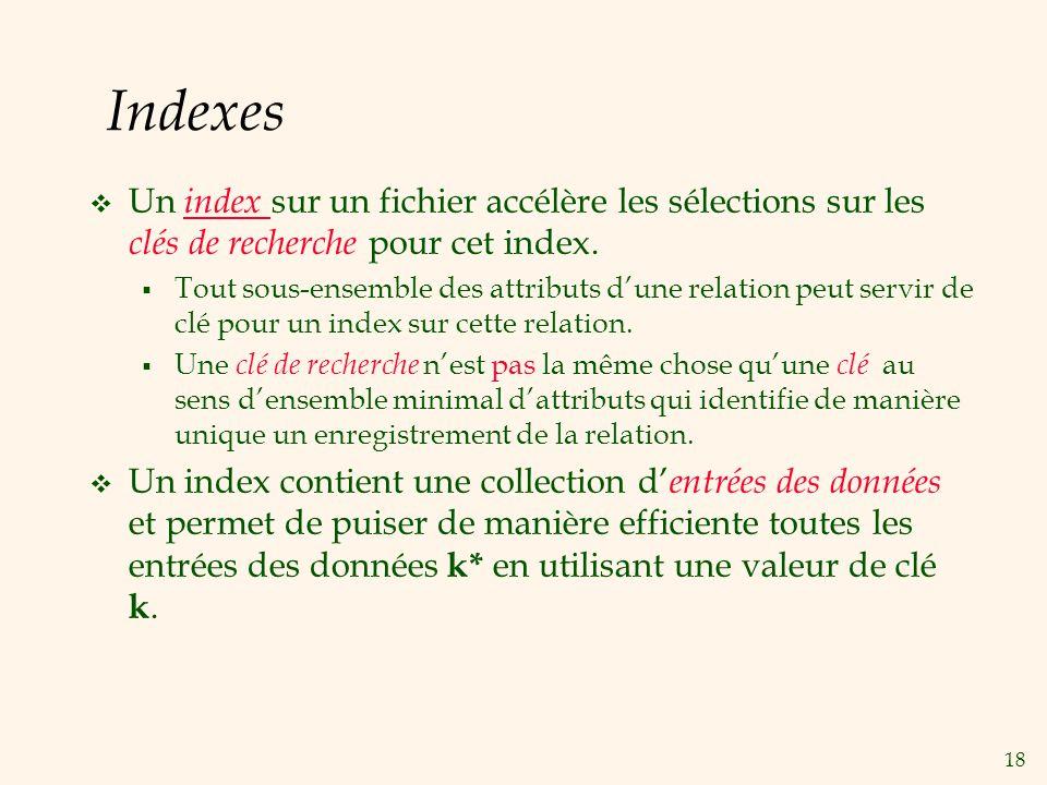 18 Indexes Un index sur un fichier accélère les sélections sur les clés de recherche pour cet index. Tout sous-ensemble des attributs dune relation pe