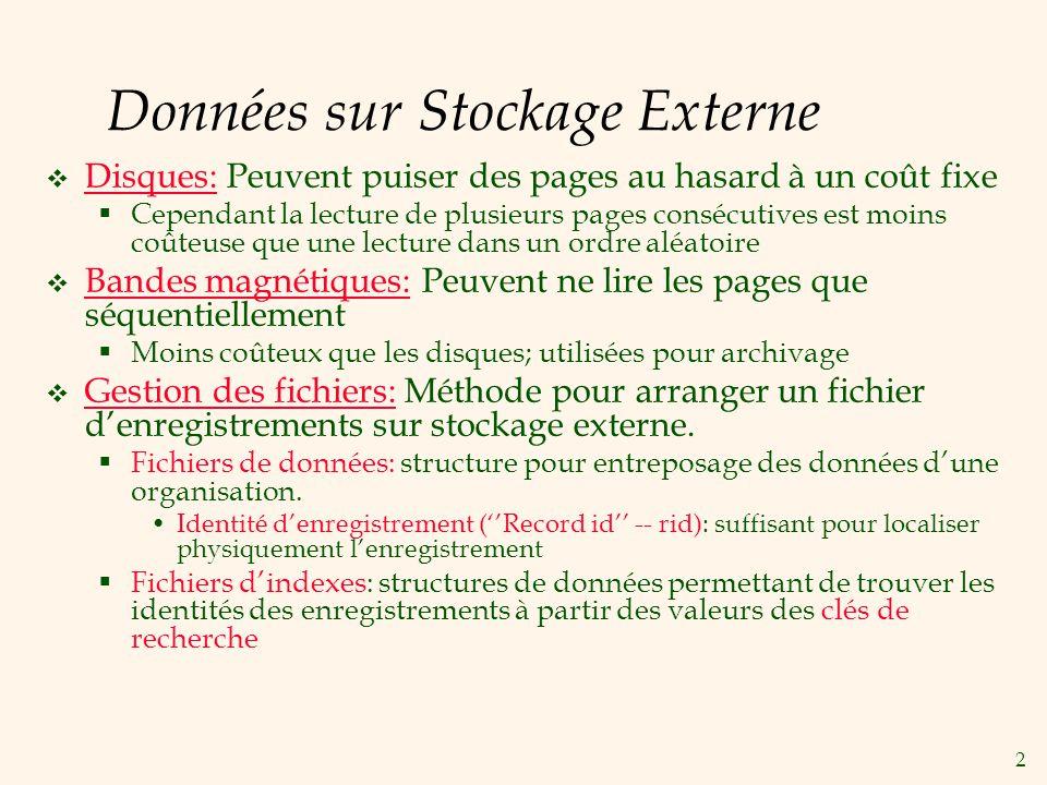 2 Données sur Stockage Externe Disques: Peuvent puiser des pages au hasard à un coût fixe Cependant la lecture de plusieurs pages consécutives est moi