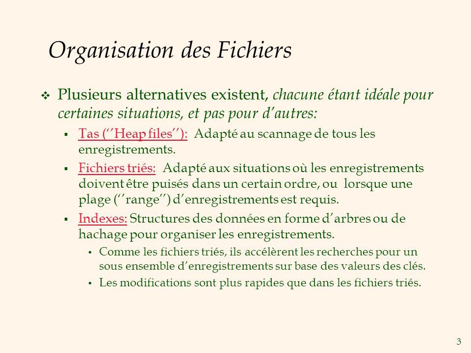 3 Organisation des Fichiers Plusieurs alternatives existent, chacune étant idéale pour certaines situations, et pas pour dautres: Tas (Heap files): Ad