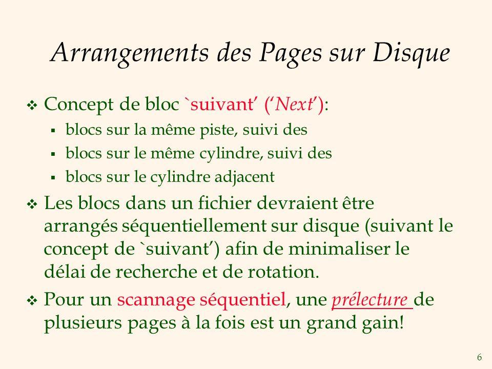 6 Arrangements des Pages sur Disque Concept de bloc `suivant ( Next ): blocs sur la même piste, suivi des blocs sur le même cylindre, suivi des blocs