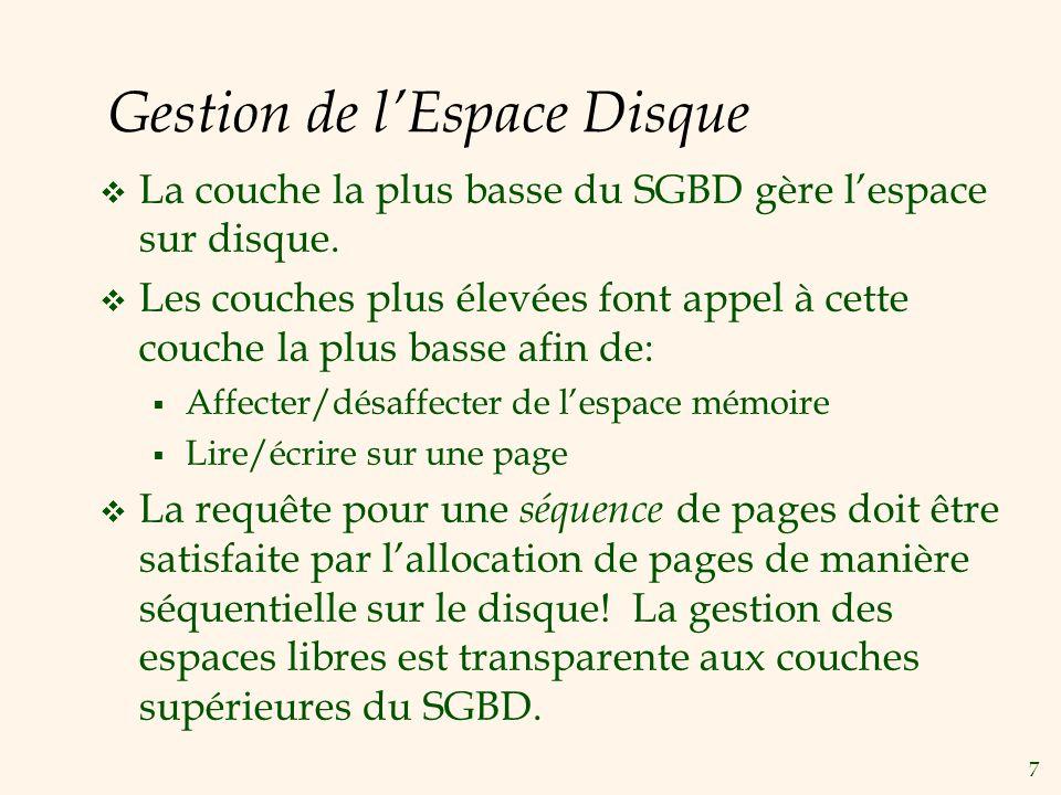 7 Gestion de lEspace Disque La couche la plus basse du SGBD gère lespace sur disque. Les couches plus élevées font appel à cette couche la plus basse